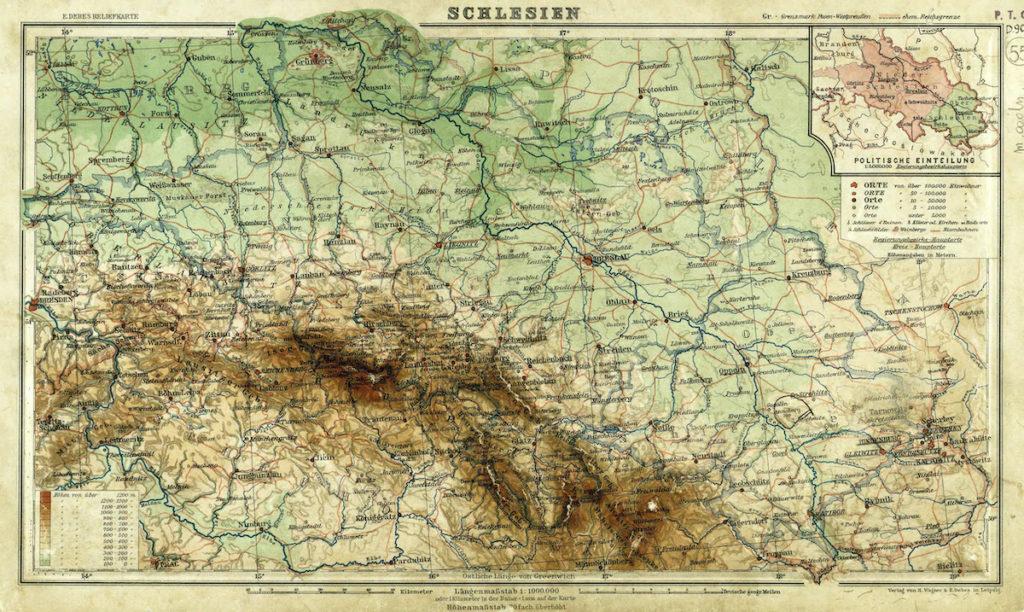 Mapa Śląska z 1930 roku, w prawym górnym rogu podział na prowincję dolnośląską i górnośląską