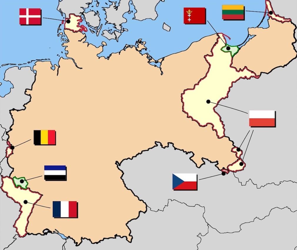 Straty terytorialne Niemiec po I wojnie światowej, w tym fragmenty Śląska przypadłe Polsce i Czechosłowacji – Źródło: wikimedia.org