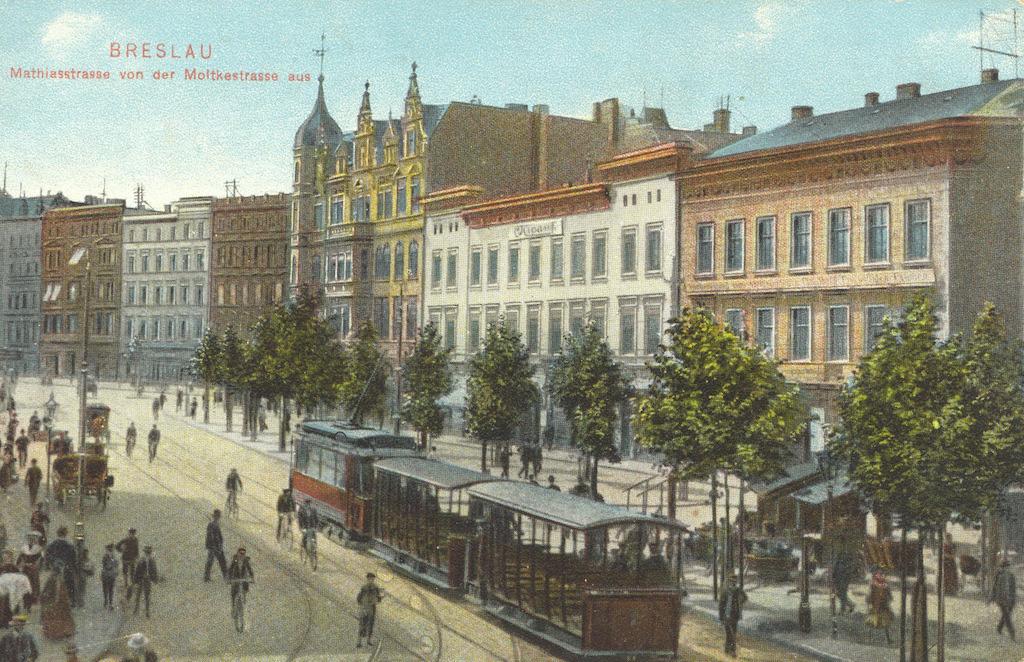 Wrocławski tramwaj z przełomu XIX/XX wieku na starej pocztówce – Źródło: polska-org.pl