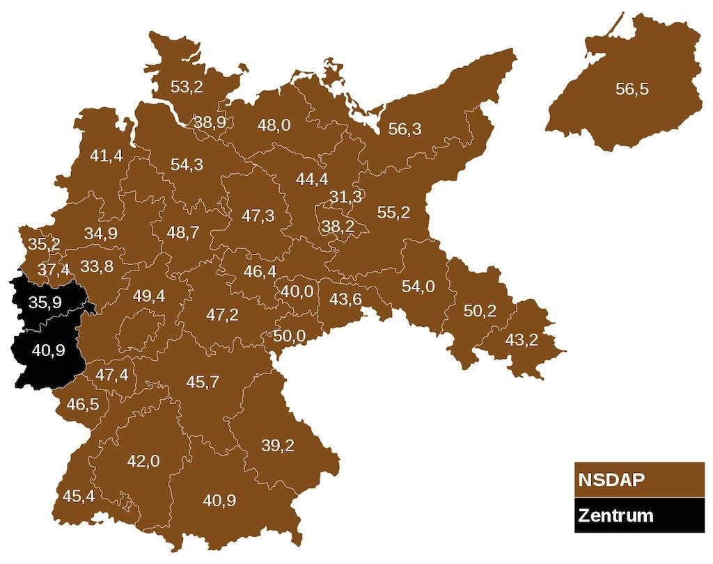 Wyniki wyborów do Reichstagu z marca 1933 roku