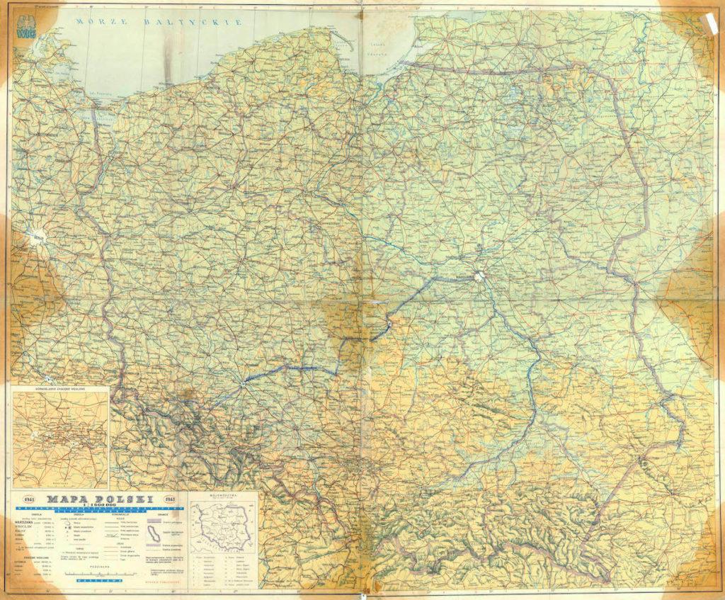 Mapa Polski z 1945 roku – Jedna z pierwszych powojennych map pokazujących Polskę w nowych granicach