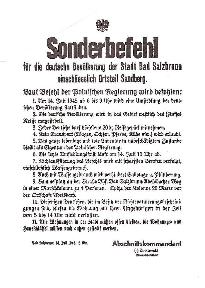 Rozkaz specjalny z 14 lipca 1945 roku dla ludności niemieckiej Szczawna-Zdroju o wysiedleniu z miasta