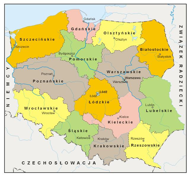 Podział administracyjny Polski obowiązujący od 1946 roku, wyodrębniono województwo wrocławskie i śląskie – Autor: Aotearoa Źródło: wikimedia.org