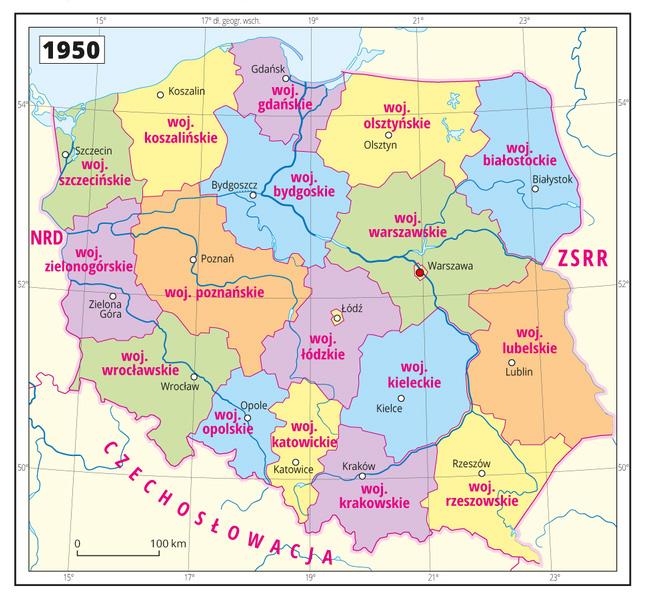 Podział administracyjny Polski obowiązujący od 1950 roku – Źródło: epodreczniki.pl