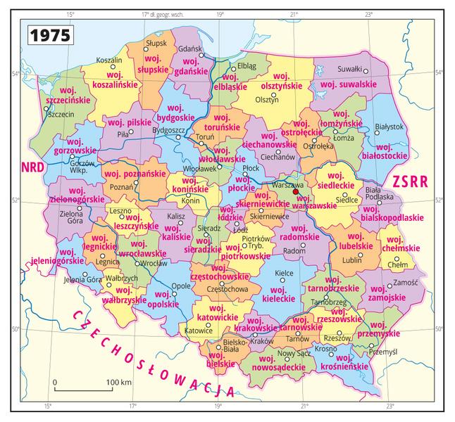 Podział administracyjny Polski obowiązujący od 1975 roku – Źródło: epodreczniki.pl