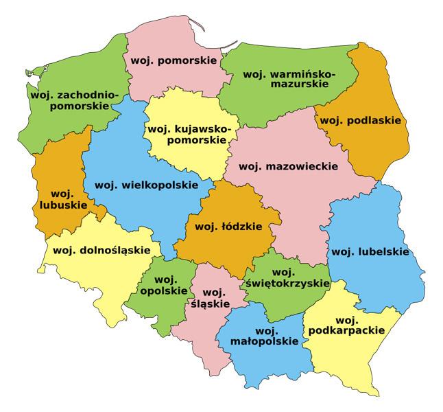 Podział administracyjny Polski obowiązujący od 1999 roku – Autor: Odder Źródło: wikimedia.org