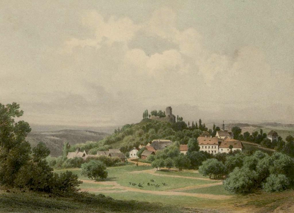 Ruiny Zamku Wleń (Lenno) na grafice z XIX wieku – Źródło: Biblioteka Cyfrowa Uniwersytetu Wrocławskiego