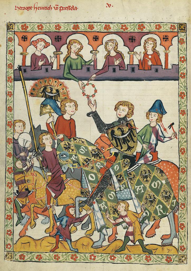 Książę wrocławski Henryk IV Prawy (Probus) jako zwycięzca turnieju rycerskiego – Źródło: Codex Manesse