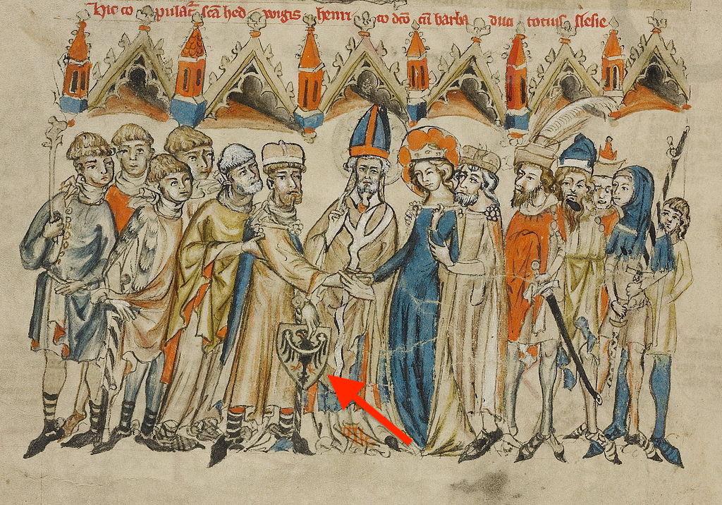 Ślub księcia Henryka I Brodatego z Jadwigą Śląską, u dołu herb: czarny orzeł z przepaską na złotym tle – Źródło: Kodeks lubiński