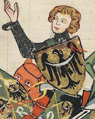 Książę trzyma tarczę z czarnym orłem, ze srebrną przepaską, na złotym tle – Wizerunek tego orła posłużył jako wzór do stworzenia współczesnego herbu województwa dolnośląskiego