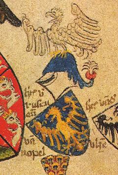 Herb księcia opolskiego Władysław Opolczyk z drugiej połowy XIV wieku, złoty orzeł na błękitnym tle – Źródło: Herbarz Geldrii