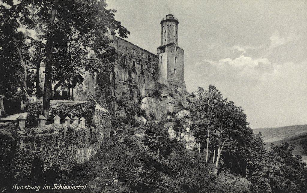 Kynsburg (Zamek Grodno) na przedwojennej pocztówce