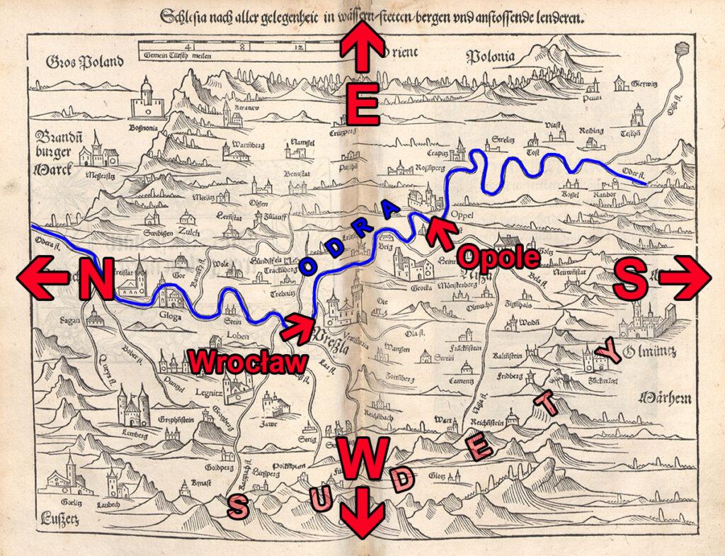 Zaznaczone na mapie Śląska Sebastiana Münstera główne kierunki geograficzne, Wrocław, Opole Sudety i Odra