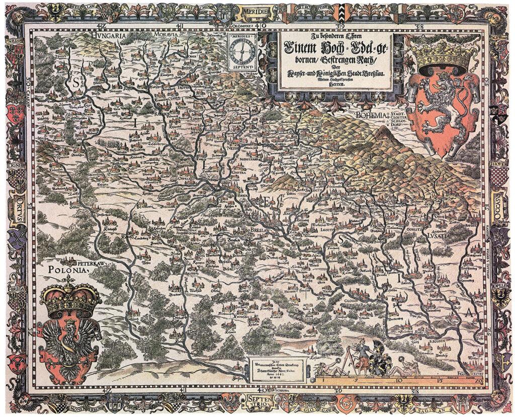 Mapa Śląska Martina Helwiga, wydanie z 1685 roku