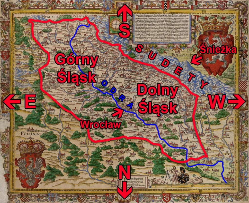 Zaznaczony obszar Śląska na mapie Helwiga wraz z Odrą, Sudetami i głównymi kierunkami geograficznymi