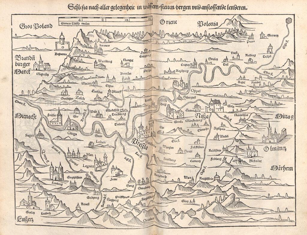 Najstarsza mapa Śląska z 1544 roku – Autor: Sebastian Münster Zbiory: Universitäts- und Landesbibliothek Düsseldorf