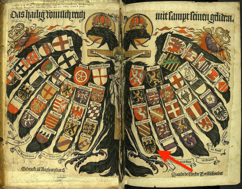 Herb Śląska symbolizujący jedną z ziem wchodzących w skład Świętego Cesarstwa Rzymskiego – Autor: Jost de Negker