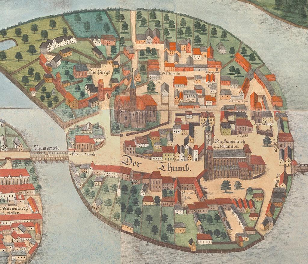 Ostrów Tumski we Wrocławiu, widać m.in. katedrę św. Jana Chrzciciela i kolegiatę pw. Świętego Krzyża