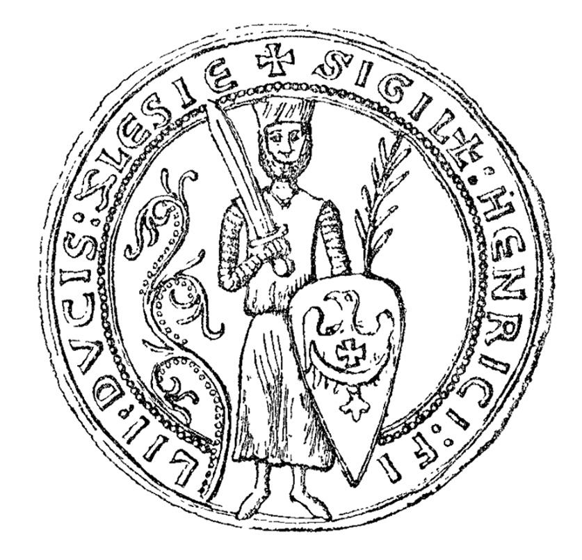 Pieczęć księcia śląskiego Henryka II Pobożnego z 1228 roku (na tarczy orzeł z półksiężycem i krzyżem)