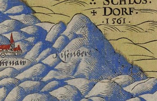 Na mapie Helwiga wśród gór pojawia się nazwa Risenberg, czyli Karkonosze