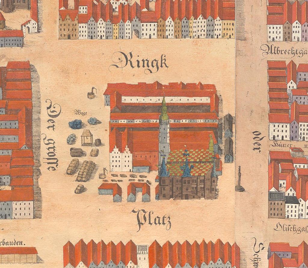 Rynek ze Starym Ratuszem na planie Wrocławia z 1562 roku