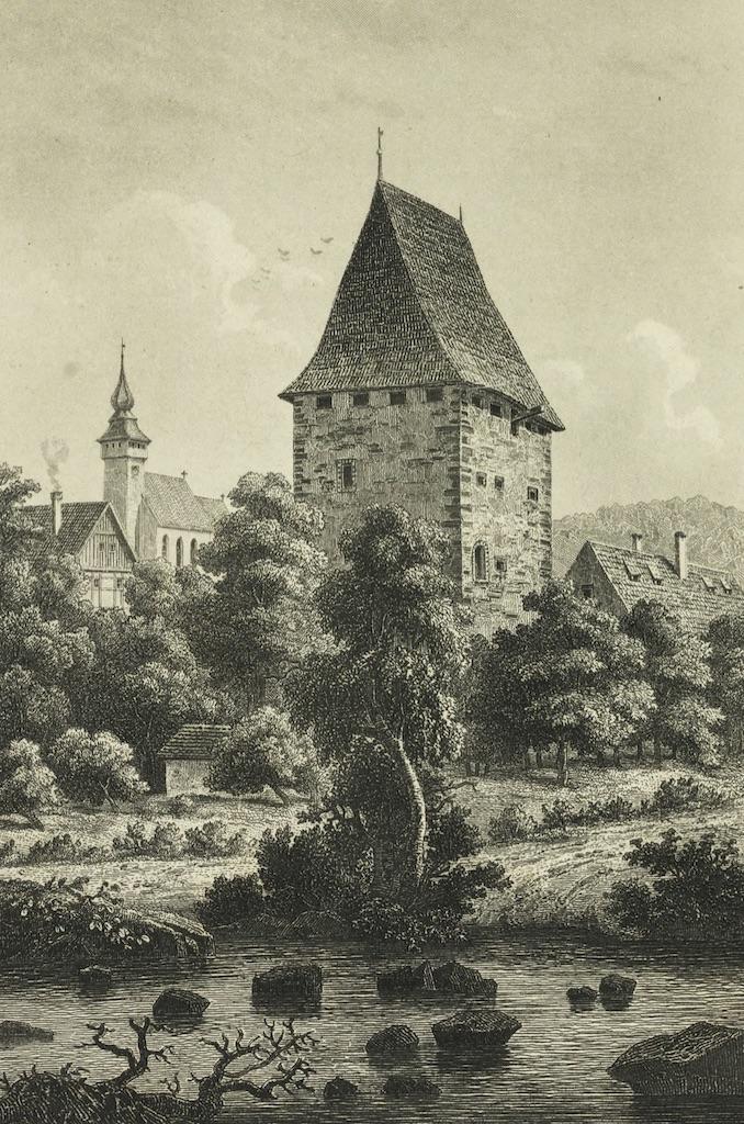Wieża w Siedlęcinie około 1880 roku – Źródło: Śląska Biblioteka Cyfrowa