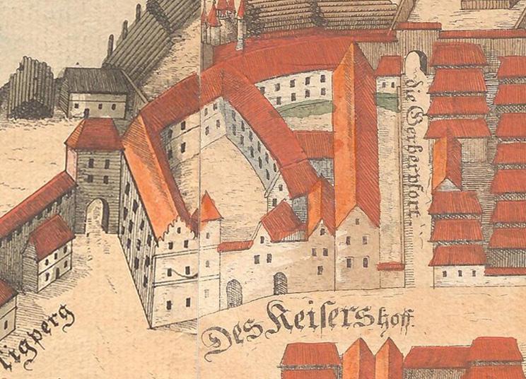 Nieistniejący Zamek Książąt Śląskich (Zamek Cesarski) na planie Wrocławia z 1562 roku