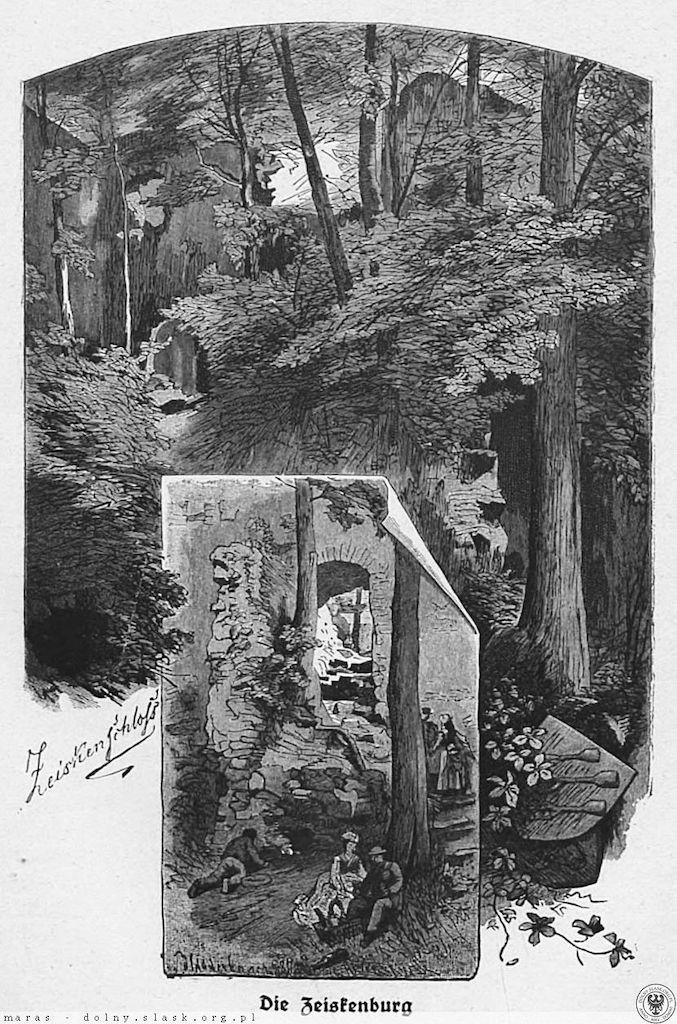 Ruiny Zamku Cisy (Zeiskenburg) na grafice z początków XX wieku – Źródło: polska-org.pl