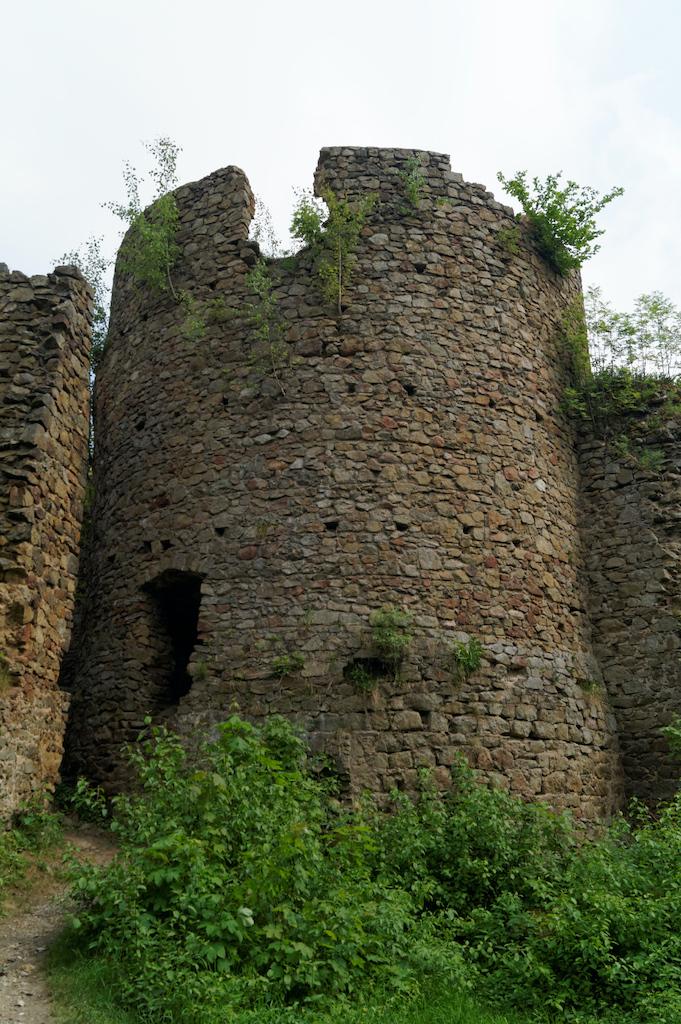 Cylindryczna wieża (bergfried) Zamku Cisy