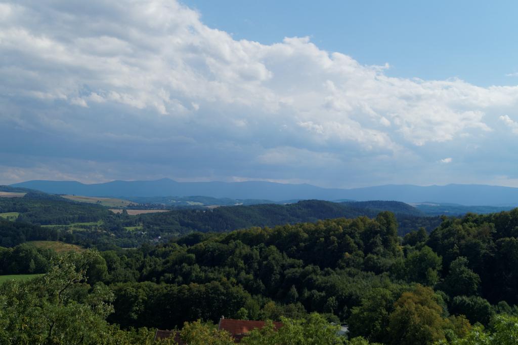 Widok z zamku we Wleniu, w tle Karkonosze i Śnieżka
