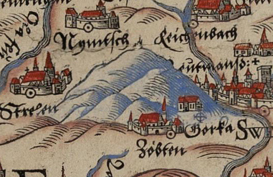 Na mapie zaznaczona jest wyraźnie Ślęża, a tuż obok niej miejscowość Zóbten, czyli Sobótka
