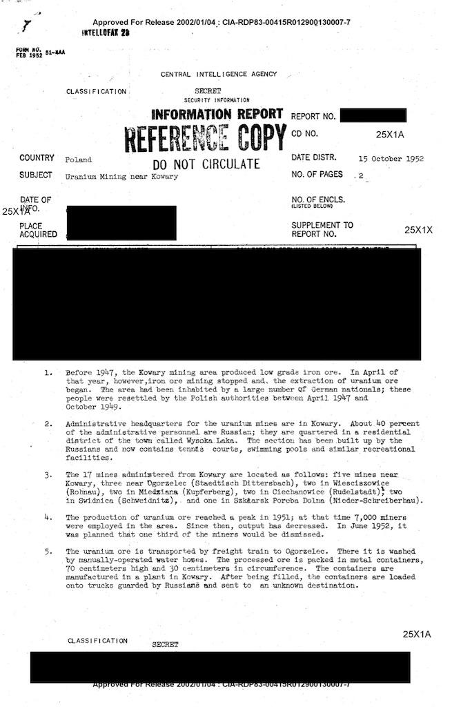 Pierwsza strona raportu CIA z 5 października 1952 roku, opisującego kopalnie uranu na terenie Polski – Źródło: CIA