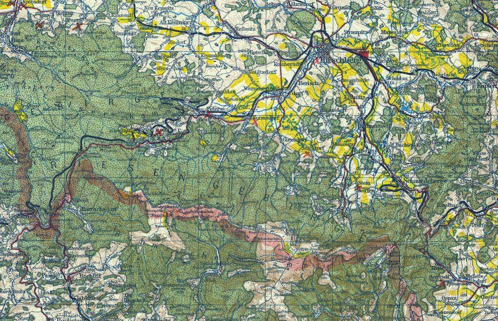Karkonosze i Góry Izerskie na niemieckiej mapie z przełomu XIX i XX wieku
