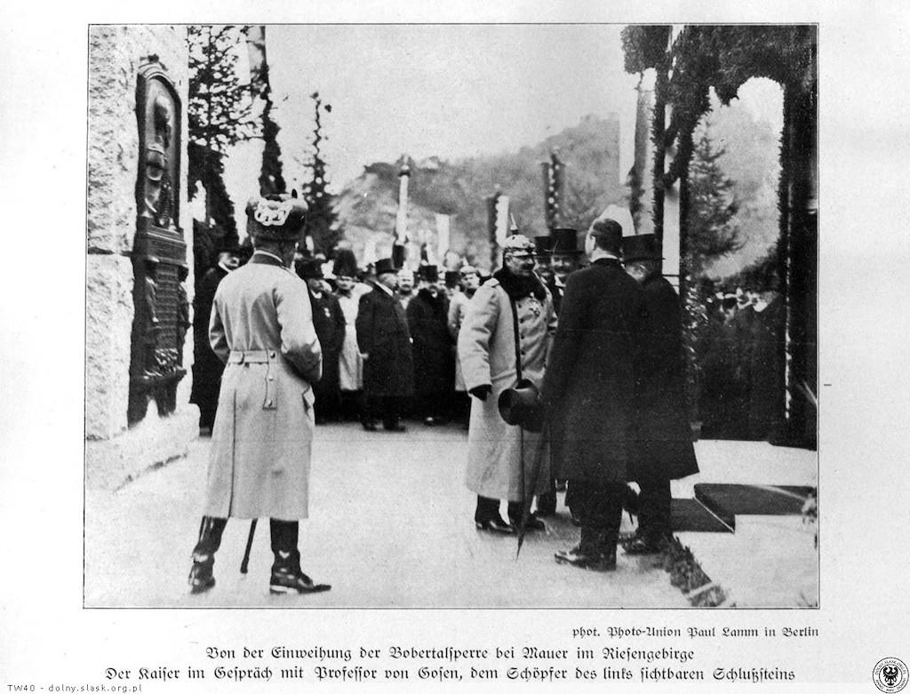 Cesarz Wilhelm II na otwarciu pilchowickiej zapory – Źródło: polska-org.pl