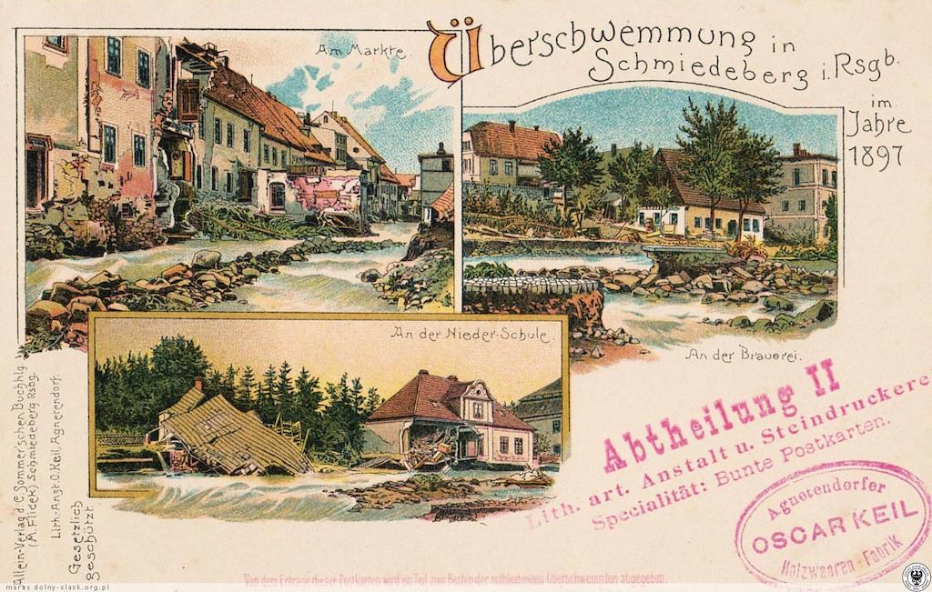 Pamiątkowa pocztówka, powódź w Kowarach w 1897 roku – Źródło: polska-org.pl