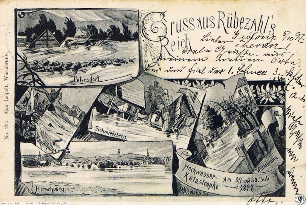 Pamiątkowa pocztówka przedstawiająca powódź z 1897 roku, zalane miejscowości: Piechowice (Petersdorf), Karpacz (Krummhübel), Kowary (Schmiedeberg), Jelenia Góra (Hirschberg) i Cieplice (Warmbrunn) – Źródło: polska-org.pl