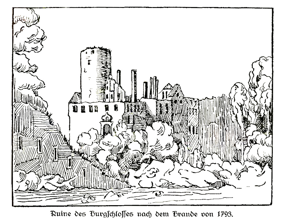 Ruiny Zamku Czocha po pożarze z 1793 roku