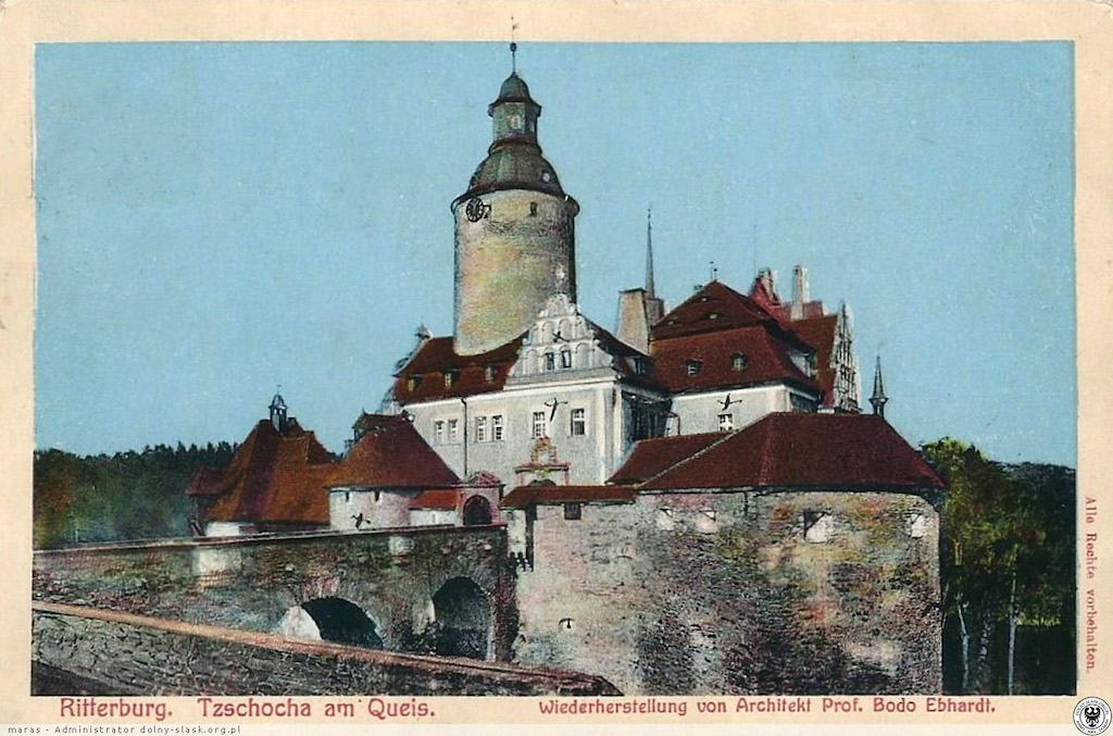 Zamek Czocha na przedwojennej pocztówce – Źródło: polska-org.pl