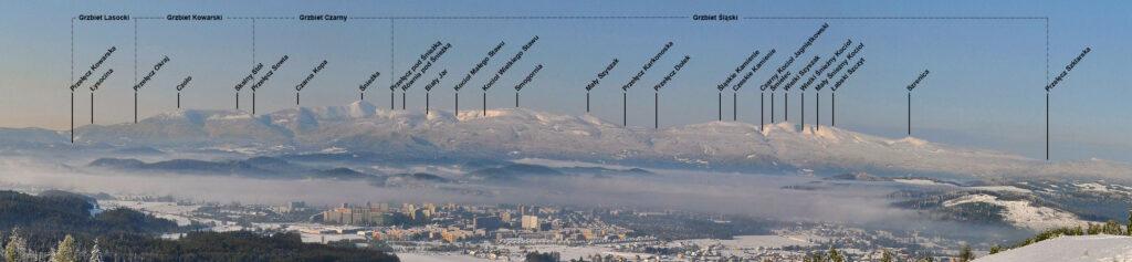 Opis panoramy Karkonoszy z Góry Szybowcowej (Góry Kaczawskie) – Foto: Rafał Stypiński Źródło: wikimedia.org