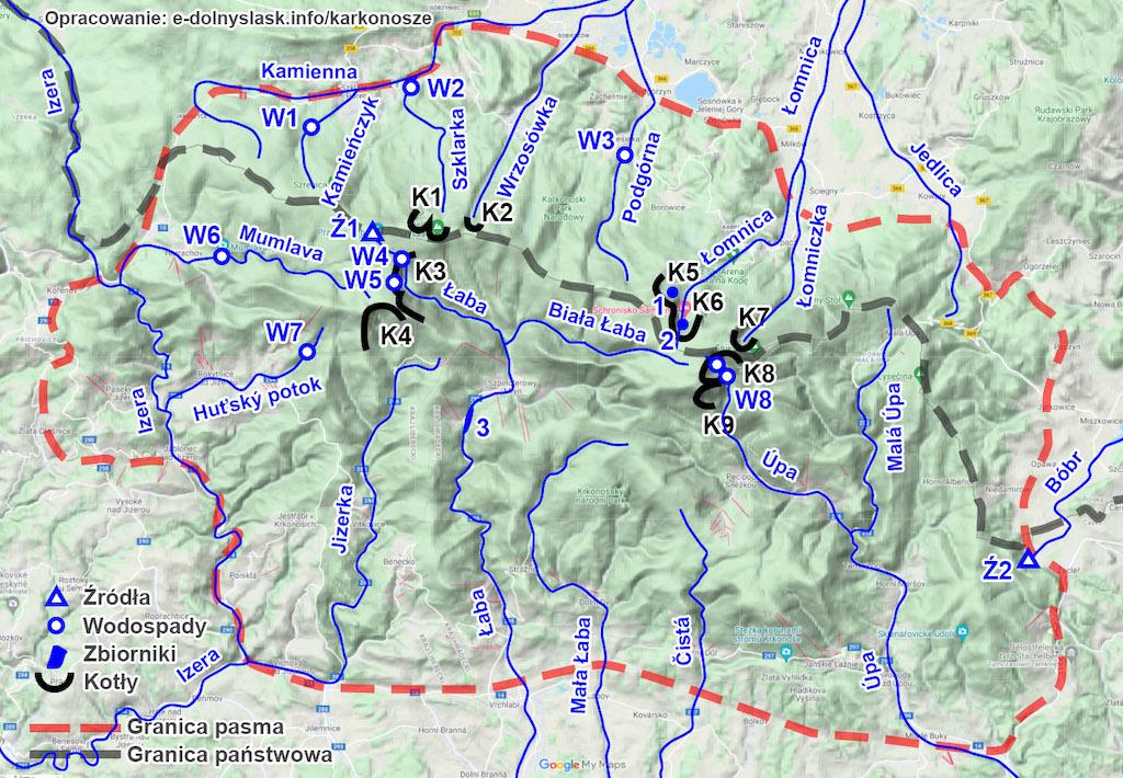Karkonosze – Najważniejsze rzeki, wodospady i kotły polodowcowe – Podkład mapy: Google Maps / Mapa terenowa