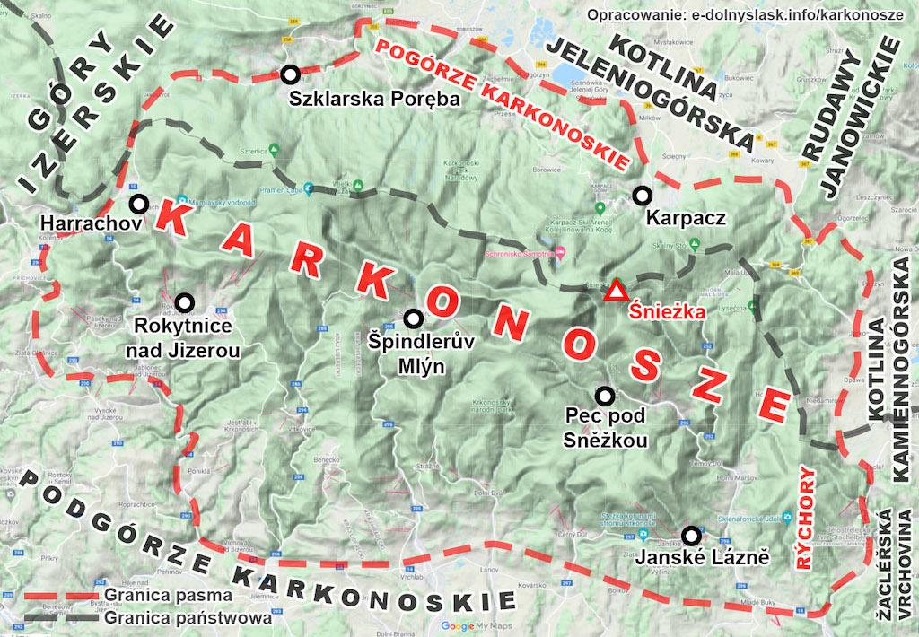 Granice pasma Karkonoszy wraz z otaczającymi je innymi jednostkami – Podkład mapy: Google Maps / Mapa terenowa