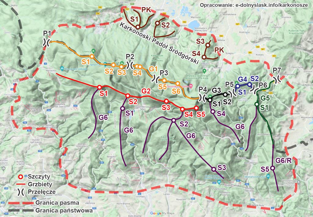 Podział Karkonoszy – Przebieg grzbietów, najważniejsze szczyty i przełęcze – Podkład mapy: Google Maps / Mapa terenowa