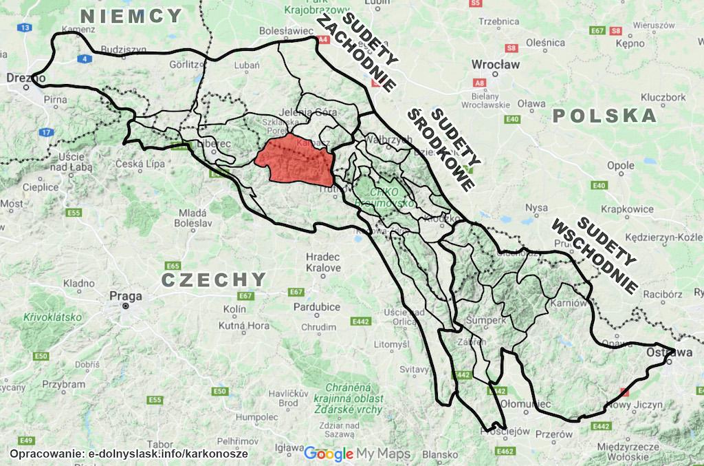 Położenie Karkonoszy (zaznaczone na czerwono) na tle całych Sudetów – Podkład mapy: Google Maps / Mapa terenowa