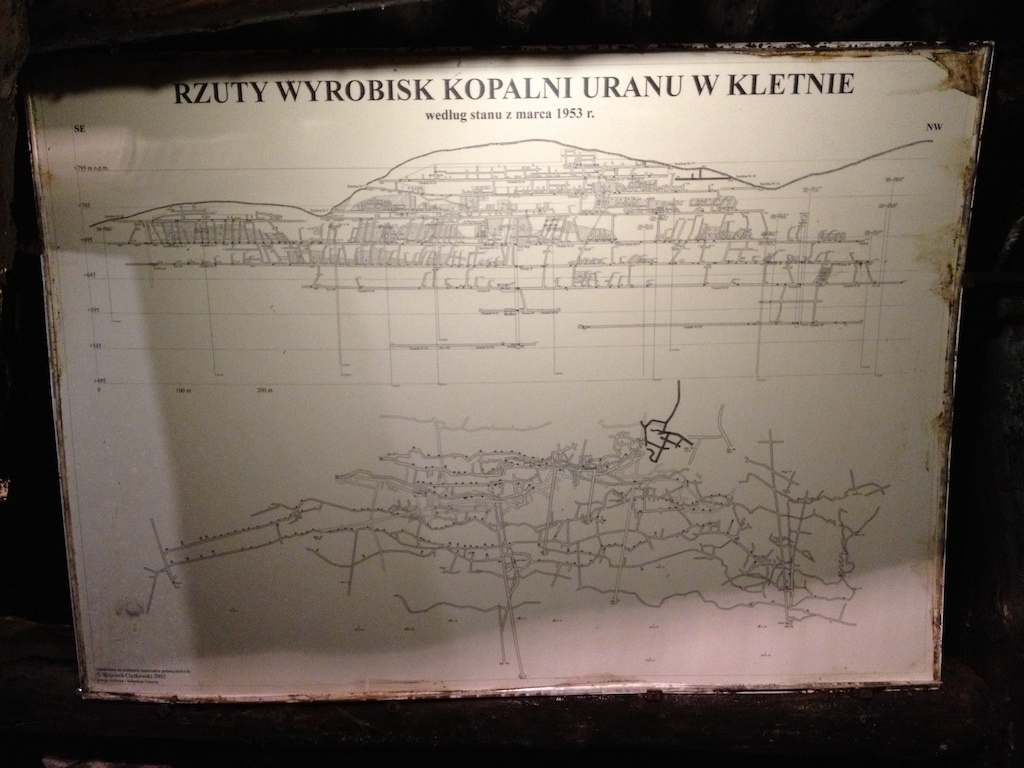 Rzuty wyrobisk kopalni uranu w Kletnie