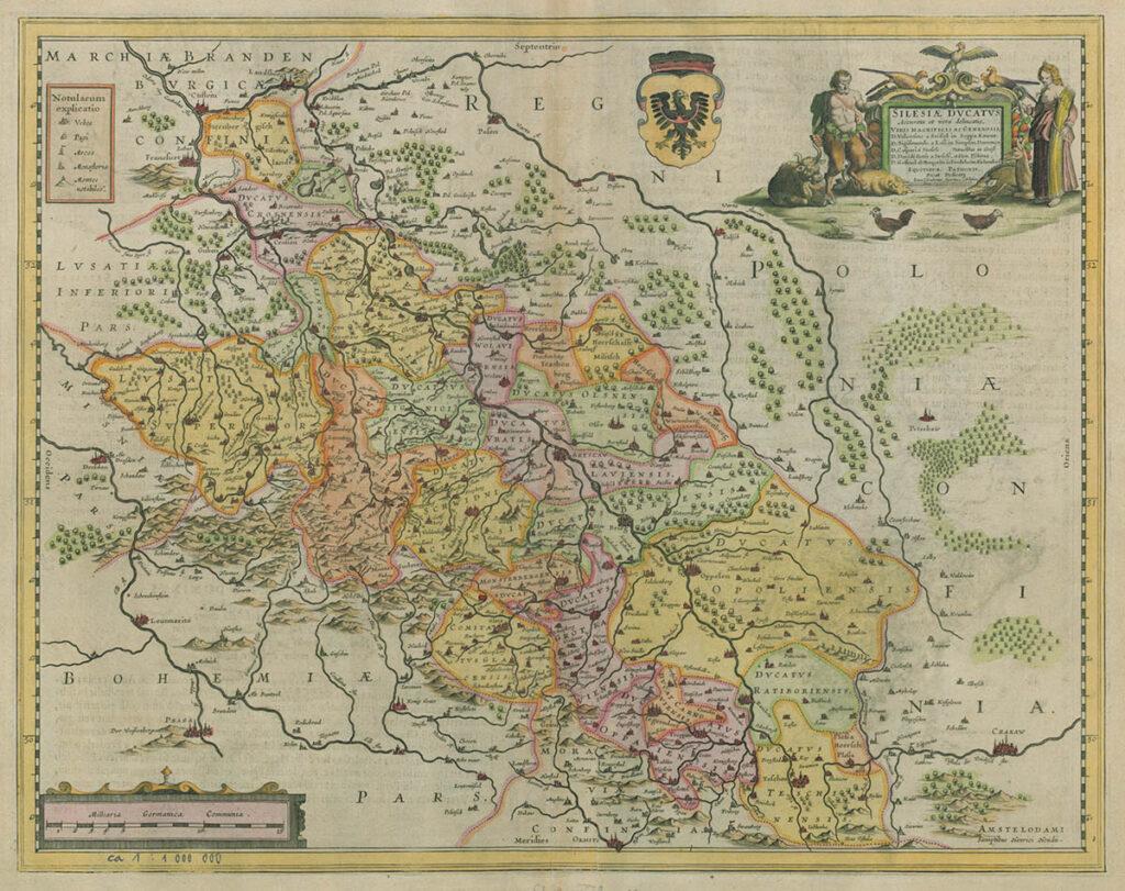 Mapa Śląska z połowy XVII wieku [wersja kolorowa] – Autor: Jonas Scultetus Zbiory: Universitäts- und Landesbibliothek Münster